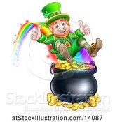 Vector Illustration of St Patricks Day Leprechaun Giving Two Thumbs Up, Riding a Rainbow to the Top of a Pot of Gold by AtStockIllustration
