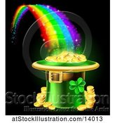 Vector Illustration of St Patricks Day Leprechaun Hat Full of Gold Coins at the End of a Rainbow, on Black by AtStockIllustration