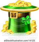 Vector Illustration of St Patricks Day Leprechaun Hat Full of Gold Coins by AtStockIllustration