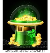 Vector Illustration of St Patricks Day Leprechaun Hat Full of Gold Coins, on a Black Background by AtStockIllustration