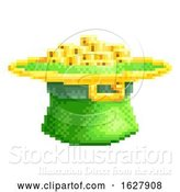 Vector Illustration of St Patricks Day Leprechaun Hat Pixel Art Icon by AtStockIllustration