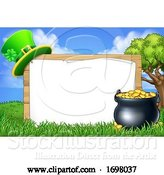 Vector Illustration of St Patricks Day Leprechaun Hat Pot of Gold Sign by AtStockIllustration
