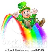 Vector Illustration of St Patricks Day Leprechaun Riding a Rainbow by AtStockIllustration