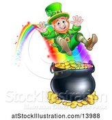 Vector Illustration of St Patricks Day Leprechaun Riding a Rainbow to the Top of a Pot of Gold by AtStockIllustration