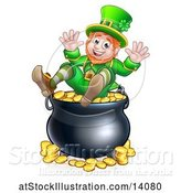 Vector Illustration of St Patricks Day Leprechaun Sitting on Top of a Pot of Gold by AtStockIllustration