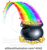 Vector Illustration of St Patricks Day Rainbow Ending at a Leprechauns Pot of Gold by AtStockIllustration