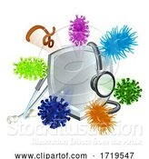 Vector Illustration of Stethoscope Shield Medical Virus Bacteria Cells by AtStockIllustration