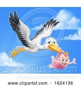 Vector Illustration of Stork Pregnancy Myth Bird with Baby Girl by AtStockIllustration