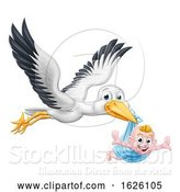 Vector Illustration of Stork Pregnancy Myth Bird with New Baby by AtStockIllustration