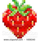 Vector Illustration of Strawberry Pixel Art 8 Bit Video Game Fruit Icon by AtStockIllustration