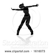 Vector Illustration of Street Dance Dancer Silhouette, on a White Background by AtStockIllustration