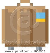 Vector Illustration of Suitcase Brief Case Pixel 8 Bit Game Art Icon by AtStockIllustration
