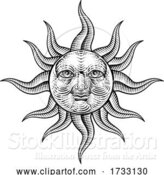 Vector Illustration of Sun Face Woodcut Drawing Retro Vintage Engraving by AtStockIllustration