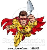 Vector Illustration of Super Bricklayer Builder Superhero Holding Trowel by AtStockIllustration