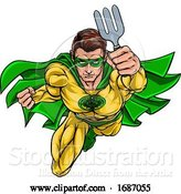Vector Illustration of Super Gardener Superhero Holding Garden Fork by AtStockIllustration