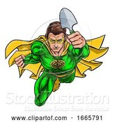 Vector Illustration of Super Gardener Superhero Holding Garden Spade by AtStockIllustration