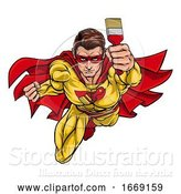 Vector Illustration of Super Hero Painter Decorator Holding Paintbrush by AtStockIllustration