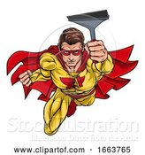 Vector Illustration of Super Window Cleaner Superhero Holding Squeegee by AtStockIllustration