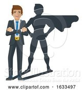 Vector Illustration of Superhero Business Man Shadow Mascot by AtStockIllustration