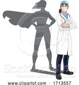 Vector Illustration of Superhero Doctor Lady with Super Hero Shadow by AtStockIllustration