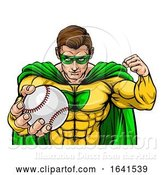 Vector Illustration of Superhero Holding Baseball Ball Sports Mascot by AtStockIllustration