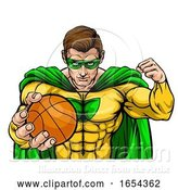 Vector Illustration of Superhero Holding Basketball Ball Sports Mascot by AtStockIllustration