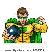 Vector Illustration of Superhero Holding Bowling Ball Sports Mascot by AtStockIllustration
