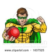 Vector Illustration of Superhero Holding Cricket Ball Sports Mascot by AtStockIllustration