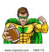 Vector Illustration of Superhero Holding Football Ball Sports Mascot by AtStockIllustration