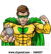 Vector Illustration of Superhero Holding Golf Ball Sports Mascot by AtStockIllustration