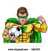 Vector Illustration of Superhero Holding Soccer Ball Sports Mascot by AtStockIllustration