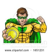 Vector Illustration of Superhero Holding Tennis Ball Sports Mascot by AtStockIllustration