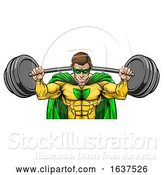 Vector Illustration of Superhero Mascot Weightlifter Lifting Big Barbell by AtStockIllustration