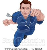 Vector Illustration of Superhero Nurse Doctor in Scrubs Flying Super Hero by AtStockIllustration