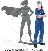 Vector Illustration of Superhero Nurse Doctor Lady Super Hero Shadow by AtStockIllustration