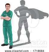 Vector Illustration of Superhero Nurse Doctor Shadow Super Hero by AtStockIllustration