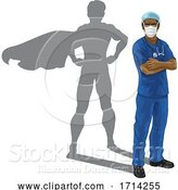 Vector Illustration of Superhero Nurse Doctor with Super Hero Shadow by AtStockIllustration
