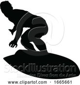 Vector Illustration of Surfer Silhouette by AtStockIllustration