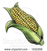 Vector Illustration of Sweet Corn Ear Maize Woodcut Etching Illustration by AtStockIllustration