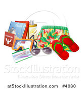 Vector Illustration of Swim Trunks, Sandals, Sunglasses, Passports, Books and Other Vacation Items by AtStockIllustration