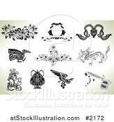 Vector Illustration of Tattoo Designs and Gun by AtStockIllustration