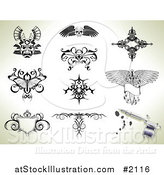 Vector Illustration of Tattoo Designs over Shading by AtStockIllustration