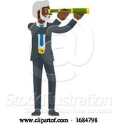 Vector Illustration of Telescope Spyglass Character Business Concept by AtStockIllustration