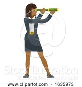 Vector Illustration of Telescope Spyglass Lady Business Concept by AtStockIllustration