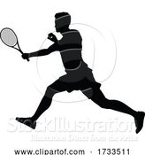 Vector Illustration of Tennis Player Guy Sports Person Silhouette by AtStockIllustration