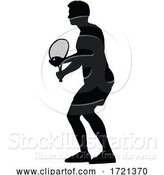 Vector Illustration of Tennis Silhouette Sport Player Guy by AtStockIllustration