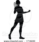 Vector Illustration of Tennis Silhouette Sport Player Lady by AtStockIllustration