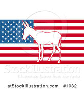 Vector Illustration of the American Flag with Democratic Donkey by AtStockIllustration