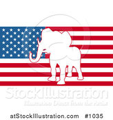 Vector Illustration of the American Flag with Republican Elephant by AtStockIllustration