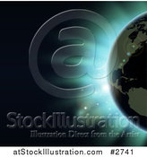 Vector Illustration of the Americas Featured on the Earth Against an Eclipse and Blue Light by AtStockIllustration